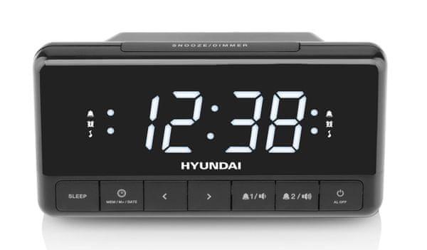 modern hagyományos rádiós ébresztőóra hyundai rac 341 pllbw snooze sleep két ébresztési idő ébresztés hangjelzéssel rádióval tartalék elem fm tuner 10 előbeállítás