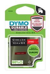 Dymo Dymo páska D1 permanentní vinylová, 12 mm x 3 m, bílá na červené, 1978366