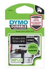 Dymo Dymo páska D1 permanentní vinylová, 12 mm x 3 m, bílá na černé, 1978365