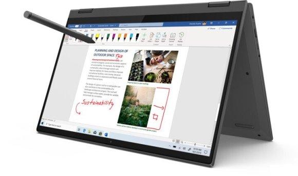 notebook a tablet v jednom zariadení lenovo ideapad flex výkonný ľahký prenosný wlan bluetooth wifi ax ips displej s vysokým rozlíšením široké pozorovacie uhly dolby audio stereo reproduktory výkonný procesor