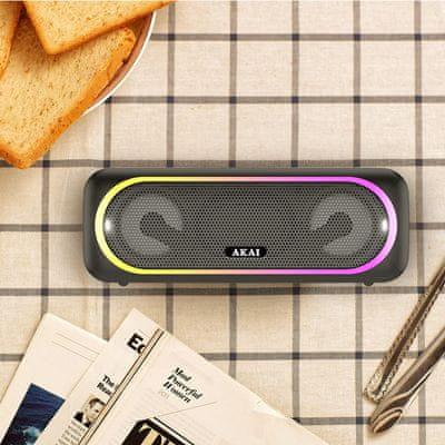 akai abts 141 hordozható hangszóró szuper hang Bluetooth usb microSD slot led fény mikrofon handsfree funkció fm tuner 10w teljesítmény gumírozott