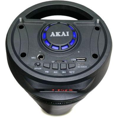 akai ABTS-530BT hordozható hangszóró szuper hang Bluetooth usb microSD slot led fény mikrofon bemenet karaoke funkció fm tuner 10w teljesítmény led diódák
