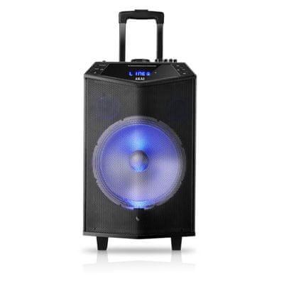 akai ABTS-DK15 buli hangszóró szuper hang Bluetooth usb aux in led fény mikrofon a csomagban karaoke funkció fm tuner 30w teljesítmény kerekek fogantyú gitár bemenet