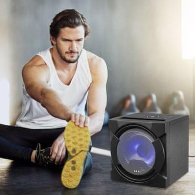 akai ABTS-K6 bulihangszóró szuper hang Bluetooth usb aux in led fény mikrofon a csomagban karaoke funkció fm tuner 30w teljesítmény gitár bemenet