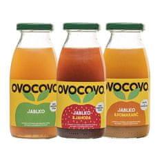 OVOCOVO SET Jablko Jahoda Pomaranč 100% prírodná ovocná šťava sklo 250 ml SET 12 ks