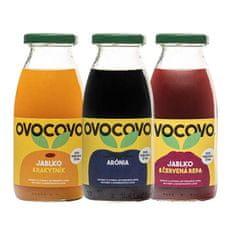 OVOCOVO SET Rakytník Arónia Červená repa 100% prírodná ovocná šťava sklo 250 ml SET 12 ks