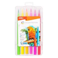 Deli stationery Fixy štětečkové 12 barev