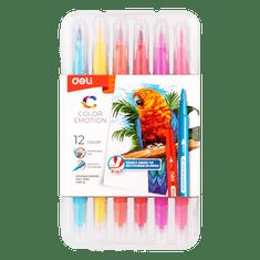 Deli stationery Fixy štětečkové + liner 12 barev