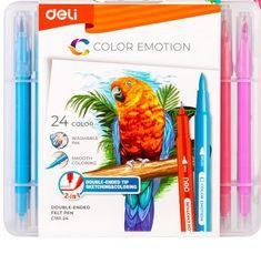 Deli stationery Fixy štětečkové + liner 24 barev