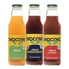 OVOCOVO SET Jablko Čierna ríbezľa Jahoda 100% prírodná ovocná šťava sklo 750 ml SET 6 ks
