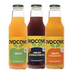 OVOCOVO SET Jablko Čierna ríbezľa Pomaranč 100% prírodná ovocná šťava sklo 750 ml SET 6 ks