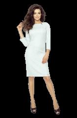 Bergamo Svetlo sivé jednoduché krátke šaty so sponou 11-06 - S