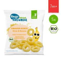 Freche Freunde BIO Chrumkavé krúžky - Proso a banán (5x)