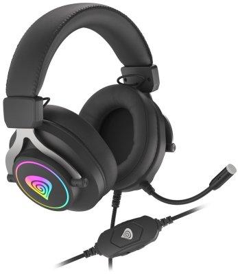 Genesis Neon 750 (NSG-1792 drátová sluchátka RGB podsvícení odolná konstrukce flexibilní čelenka kožené náušníky odnímatelný mikrofon 1,5m kabel 50mm měniče konektor ovládání hlasitosti na kabelu