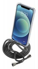 CellularLine Neck-Case Átlátszó tok fekete zsinórral a nyakba akasztáshoz az Apple iPhone 12 MINI készülékhez, NECKCASEIPH12K