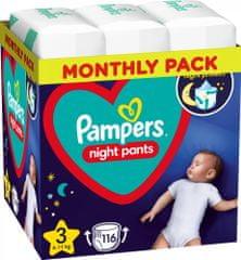Pampers Night Pants Plenkové Kalhotky Velikost 3, 116 Kalhotek, 6kg-11kg