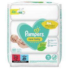 Pampers New Baby Dětské Čisticí Ubrousky 4 Balení = 200 Čisticích ubrousků