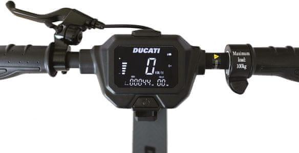 Hulajnoga elektryczna Ducati PRO-II PLUS składana konstrukcja wysoka wydajność tryby jazdy opony anti-defekt bezdętkowe tempompat wyświetlacz LCD składana konstrukcja prędkość 25 km zasięg 35 km światła LED hulajnoga elektryczna moc 350 W wydajna hulajnoga elektryczna stylowy design IPX4 nośność 100 g mechaniczny hamulec aplikacja mobilna przedni hamulec elektryczny tempomat amortyzacja tylnego koła