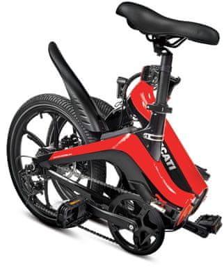 Składany rower elektryczny DUCATI MG-20 kompaktowy e-bike wyświetlacz LCD tryby jazdy wyjmowana bateria duży zasięg składana konstrukcja oświetlenie LED wyposażenie Shimano mechaniczne hamulce tarczowe błotniki bateria SAMSUNG duże koła kompaktowe rozmiary solidna konstrukcja