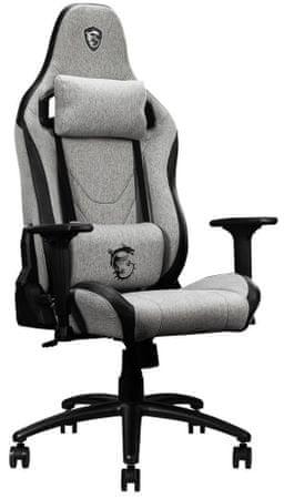 Herní židle ergonomická MSI MAG CH130I FABRIC (9S6-B0Y30S-01) polohovatelná pěnové polstrování proti pokřivení vaší páteře 360° sklopení a náklon 165° rám z uhlíkové oceli
