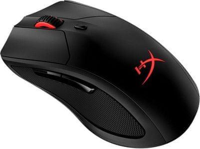 Herní bezdrátová myš HyperX Pulsefire Dart (HX-MC006B) černá červená dělená funkční tlačítka funkce optická senzor PixArt 3389 16000 DPI  koženkový potah ergonomie pro příjemný úchop