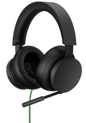 Sluchátka Xbox Stereo Headset (8LI-00002), 40mm měniče, Xbox One, Xbox Series X, Dolby Atmos, USB-C, herní headset, paměťová pěna, hliník