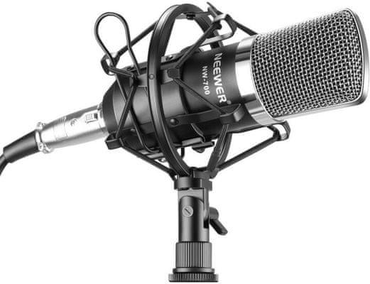 moderný kondenzátorový mikrofón neewer nw-700 absorbér otrasov ochrana pred vetrom prepojovací kábel dynamické nahrávky vykreslené detaily ľahká prenosnosť
