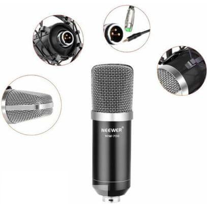 moderný kondenzátorový mikrofón neewer nw-800 absorbér otrasov ochrana pred vetrom prepojovací kábel dynamické nahrávky vykreslené detaily ľahká prenosnosť