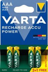 Varta polnilna baterija Power 3+1 AAA 1000 mAh R2U 5703301494m 3+1 kosov