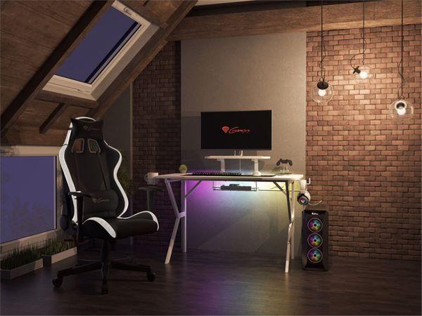 Herní bílý stůl Genesis Gaming HOLM 320 RGB (NDS-1802) cable management karbon úprava USB hub 3.0 bezdrátová nabíječka