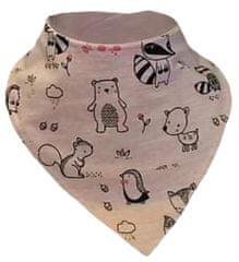 Yetty dívčí růžový kojenecký nákrčník se zvířátky N12