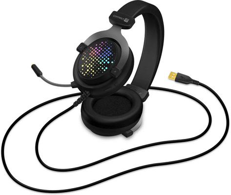Herní sluchátka CONNECT-IT Evogear Ed.3, černá 50mm elektrodynamické měniče 7.1 audio virtuální prostorový zvuk 3,5mm pozlacený USB konektor