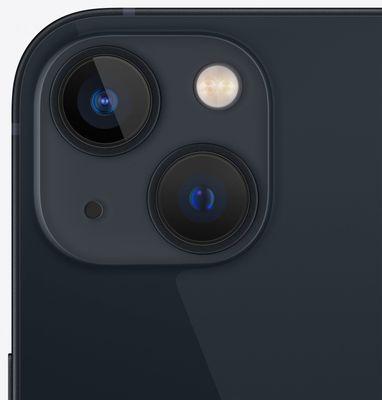 Apple iPhone 13, duální širokoúhlý ultraširokoúhlý fotoaparát vylepšený noční režim optická stabilizace obrazu Smart HDR