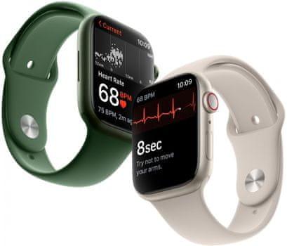 Chytré hodinky Apple Watch Series 6 Cellular Retina displej stále zapnutý EKG monitorování tepu srdeční činnosti hudební přehrávač volání notifikace NFC platby Apple Pay hluk App Store  eSIM komunikace bez přítomnosti telefonu LTE připojení aktivní mobilní tarif oboustranná komunikace