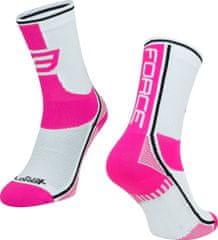 Force Cyklistické ponožky Force Long Plus - růžová/bílá - velikost S-M