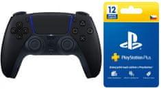 Sony PlayStation 5 Dual Sense Midnight Black + Sony Playstation Plus Card - 365 dní, CZ